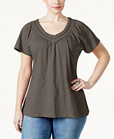 Karen Scott Plus Size Crochet V-Neck Tee, Created for Macy's
