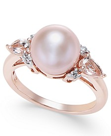 Pink Cultured Freshwater Pearl (9mm), Morganite (3/8 ct. t.w.) and Diamond Accent Ring in 14k Rose Gold