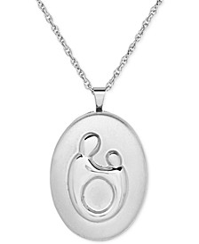 Mother-Themed Oval Locket Pendant Necklace in Sterling Silver