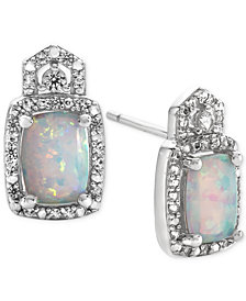 Lab-Created Opal (1 ct. t.w.) and White Sapphire (1/5 ct. t.w.) Stud Earrings in Sterling Silver