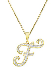 "Diamond Accent Script Initial 18"" Pendant Necklace in Silver Plate, Gold Plate & Rose Gold Plate"