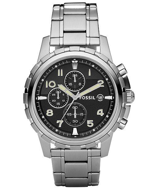Fossil Men's Chronograph Dean Stainless Steel Bracelet Watch 45mm