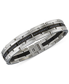 Esquire Men S Jewelry Diamond Bracelet 1 Ct T W In Stainless Steel And Black
