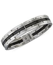 eef08072bd2a57 Esquire Men's Jewelry Diamond Bracelet (1 ct. t.w.) in Stainless Steel and  Black