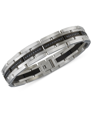 Diamond Bracelet (1 ct. t.w.) in Stainless Steel and Black Ion-Plating