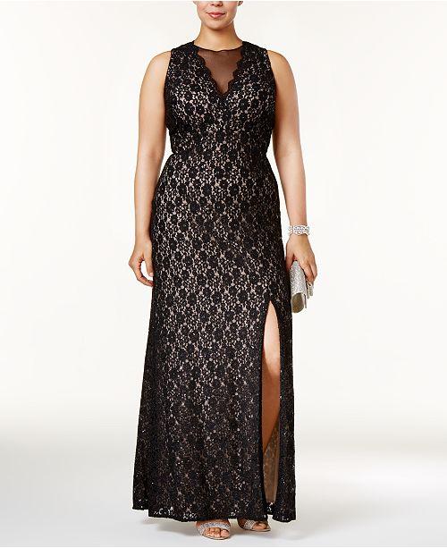 5bb68e7d36 Nightway Plus Size Illusion Glitter Lace Gown - Dresses - Women - Macy s