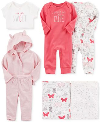 Carter's Swaddle Blankets, Coveralls & Clothing Set, Baby Girls