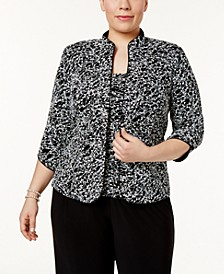 Plus Size Printed Mandarin Jacket & Top Set