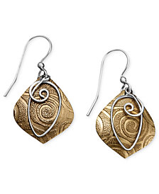 Jody Coyote Bronze Earrings, Textured Drop Earrings