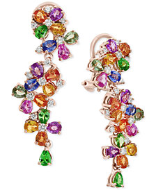 Watercolors by EFFY® Multi-Gemstone (9 ct. t.w.) & Diamond (3/4 ct. t.w.) Cluster Drop Earrings in 14k Rose Gold