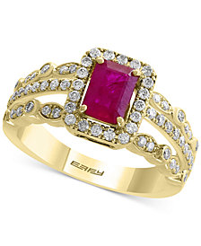 Amoré by EFFY® Certified Ruby (1 ct. t.w.) and Diamond (1/2 ct. t.w.) Ring in 14k Gold, Created for Macy's