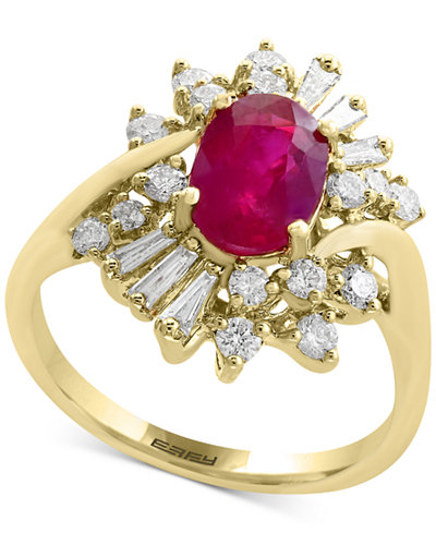 Amoré by EFFY® Certified Ruby (1-3/8 ct. t.w.) and Diamond (5/8 ct. t.w.) Ring in 14k Gold, Created for Macy's
