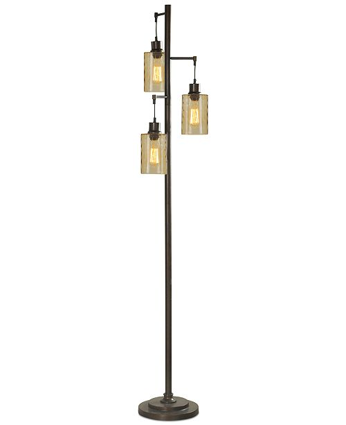 StyleCraft Dimpled Glass Floor Lamp