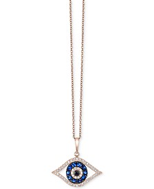 Bella Bleu by EFFY® Diamond Evil-Eye Pendant Necklace (1/3 ct. t.w.) in 14k Rose Gold