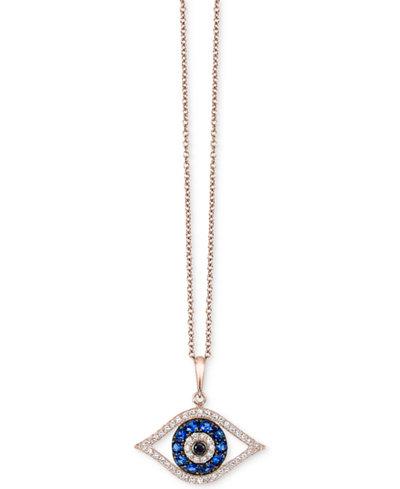Bella Bleu by EFFY® Diamond Evil-Eye Pendant Necklace (1/3 ct. t.w.) in 14k Rose Gold