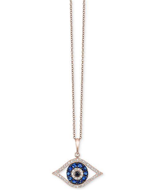 EFFY Collection Bella Bleu by EFFY® Diamond Evil-Eye Pendant Necklace (1/3 ct. t.w.) in 14k Rose Gold