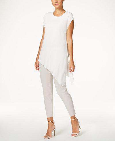 Anne Klein Cap-Sleeve Asymmetrical Top & Crepe Straight-Leg Pants