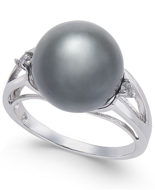 Macy's Cultured Black Tahitian Pearl (11mm) and Diamond Accent Ring in Sterling Silver