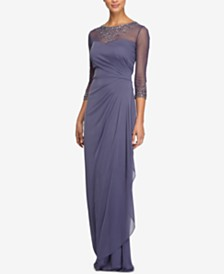 Alex Evenings Petite Draped Sweetheart Gown