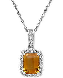 Amethyst (2-1/10 ct.t.w.) & White Topaz (5/8 ct. t.w.) Pendant Necklace in Sterling Silver(Also Available in Citrine, and Blue Topaz)