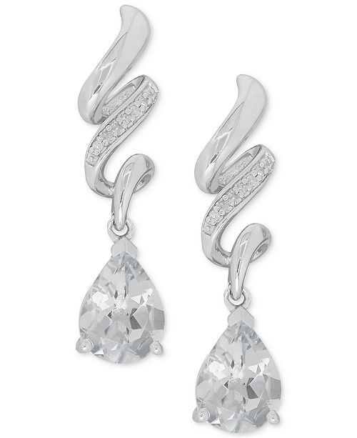 Macy's White Topaz (2-1/2 ct. t.w.) & Diamond Accent Drop Earrings in Sterling Silver