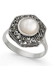 Mother-of-Pearl and Marcasite Filigree Statement Ring in Silver-Plate