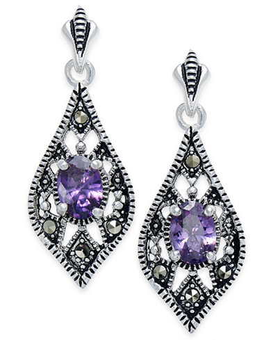 Cubic Zirconia and Marcasite Drop Earrings in Silver-Plate