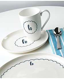 Navy Scallop Monogram Dinnerware Collection