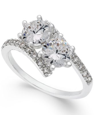 Image of Charter Club Silver-Tone Cubic Zirconia 2-Stone Ring, Created for Macy's