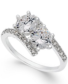 Silver-Tone Cubic Zirconia 2-Stone Ring, Created for Macy's
