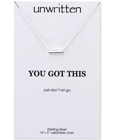 Unwritten Mini Bar Pendant Necklace in Sterling Silver