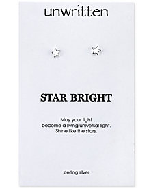 Unwritten Polished Star Stud Earrings in Sterling Silver