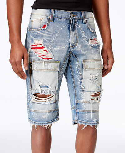 Heritage America Men's Ripped Denim Cargo Shorts - Men - Macy's