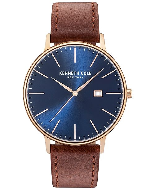 21f2b7f6697 ... Kenneth Cole New York Men s Brown Leather Strap Watch 42mm KC15059007  ...
