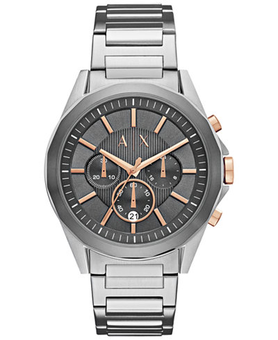 A|X Armani Exchange Men's Chronograph Stainless Steel Bracelet Watch 44mm AX2606
