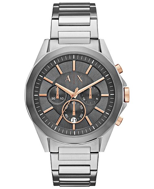 Armani Exchange A X Men's Chronograph Stainless Steel Bracelet Watch 44mm AX2606