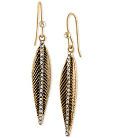 RACHEL Rachel Roy Gold-Tone Pavé Feather Drop Earrings