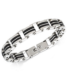 Sutton by Rhona Sutton Men's Stainless Steel Decorative Link Bracelet