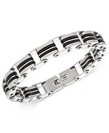 Sutton by Rhona Sutton Men's Stainless Steel Decorative Link Bracelet