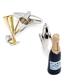 Sutton by Men's Two-Tone Champagne Flute and Bottle Cuff Links