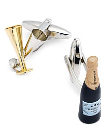 Sutton by Rhona Sutton Men's Two-Tone Champagne Flute and Bottle Cuff Links