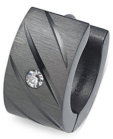 Sutton by Rhona Sutton Men's Black Stainless Steel Cubic Zirconia Huggie Hoop Earring
