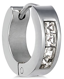 Men's Stainless Steel Cubic Zirconia Huggie Hoop Earring