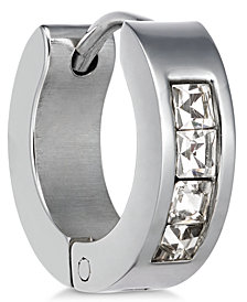 Sutton by Rhona Sutton Men's Stainless Steel Cubic Zirconia Huggie Hoop Earring