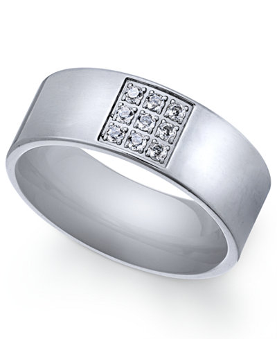 Sutton by Rhona Sutton Men's Stainless Steel Cubic Zirconia Ring