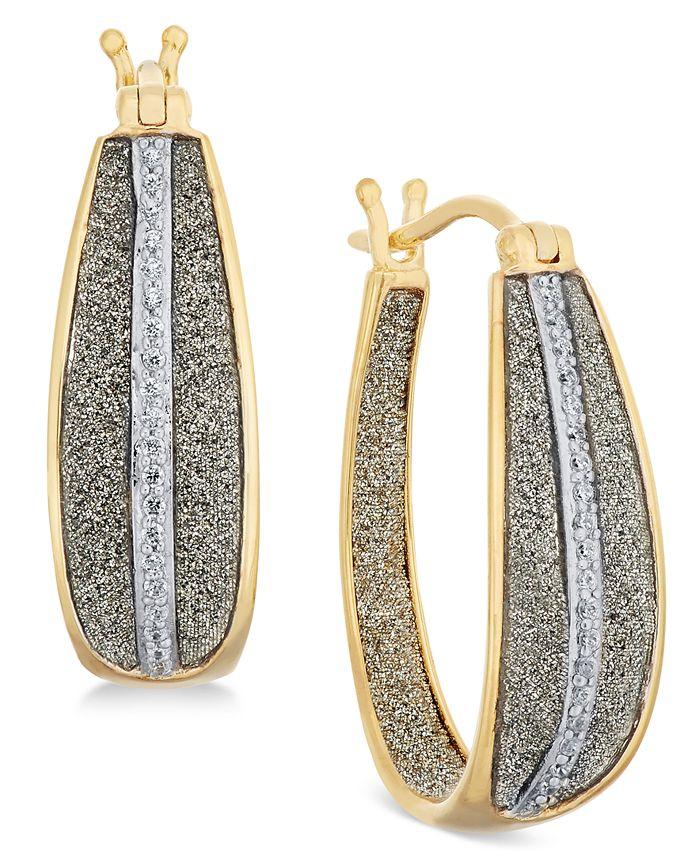 Macy's - Diamond Glitter Hoop Earrings (1/3 ct. t.w.) in 18k Gold over Sterling Silver