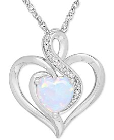 Lab-Created Opal (1/2 ct. t.w.) & Diamond Accent Heart Pendant Necklace in Sterling Silver