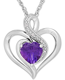 Amethyst (1-1/10 ct. t.w.) & Diamond Accent Heart Pendant Necklace in Sterling Silver
