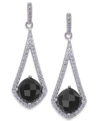 Onyx & Swarovski Zirconia Drop Earrings in Sterling Silver