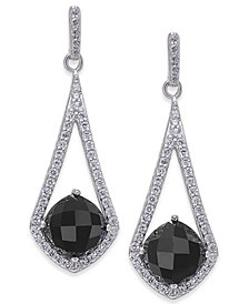 Onyx & Swarovski Zirconia Drop Earrings in Sterling Silver